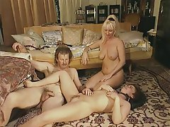 Double Penetration, Group Sex, MILF, Strapon